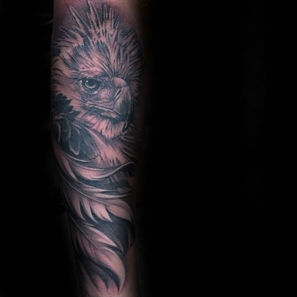 Eagle Inner Forearm Feather Mens Tattoos
