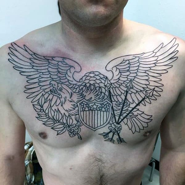Eagle Mens Traditional Upper Chest Black Ink Outline Tattoo Design Ideas