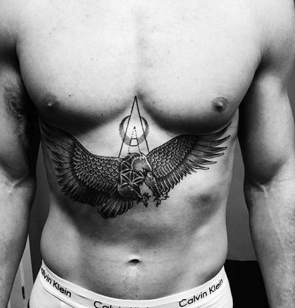 Eagle Pointillism Lower Chest Tattoos For Guys