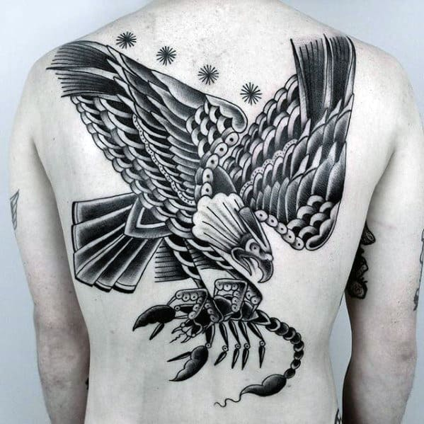 Eagle Scorpion Mens Traditional Back Tattoos