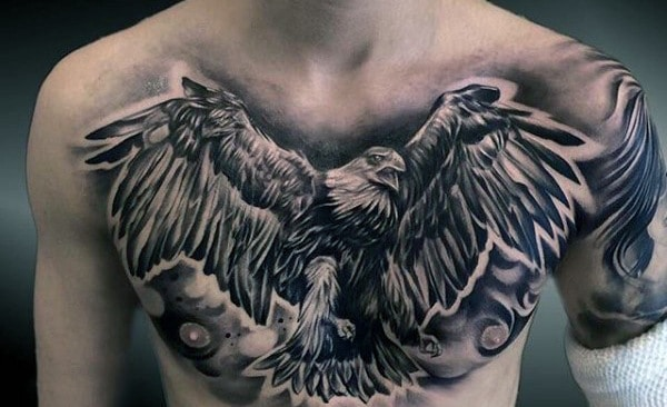 Black Eagle Full Chest Tattoo For Men