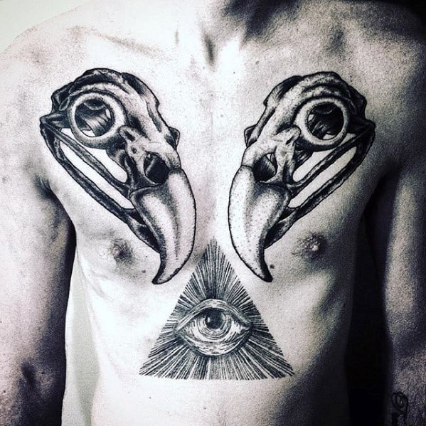 Eagle Skull Mens Animal Chest Tattoo