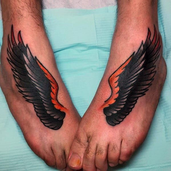 Eagle Wings Guys Traditional Foot Tattoos