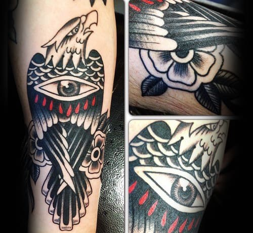 Eagle With Eye Mens Traditional Forearm Tattoo Ideas
