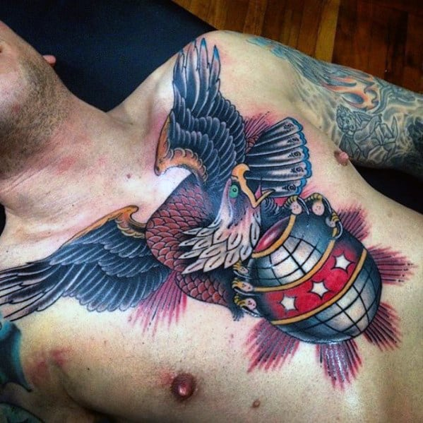 Eagle With Globe Guys Traditional Bird Chest Tattoo