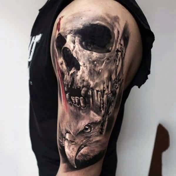 Eagle With Skull Guys Realistic Arm Tattoo