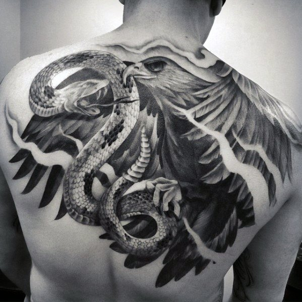 Eagle With Snake Unique Back Male Tattoos