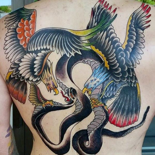 Eagles Flying With Black Snake Guys Traditional Back Tattoo