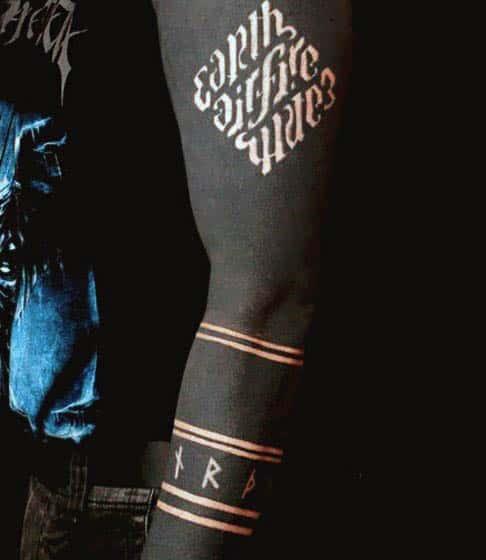 Earth Fire Wind Blackwork Negative Space Guys Tattoo