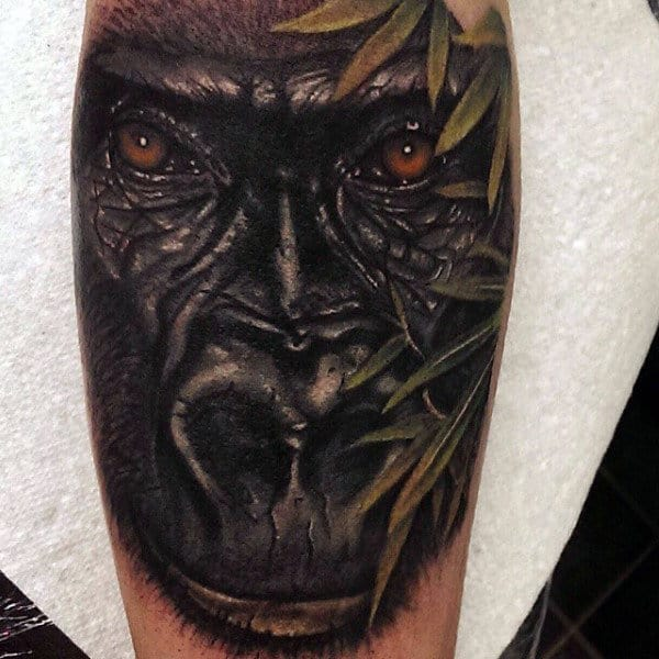 Eastern Gorilla Tattoo For Men On Bicep