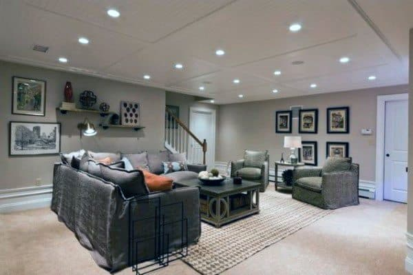 Top 60 best basement ceiling ideas downstairs finishing designs - Simple basement designs ...