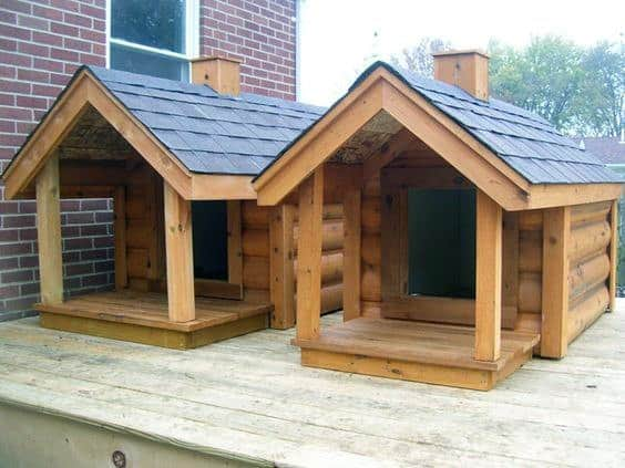 Easy Dog House Ideas With Log Cabin Construction