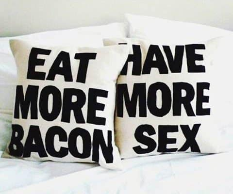 Eat More Bacon Bachelor Pad Decor Mens Throw Pillow Ideas