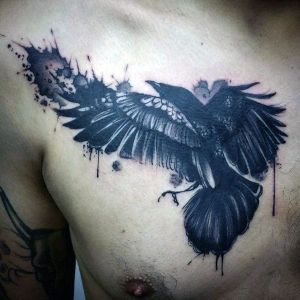 Ebony Raven Tattoo Mens Chest
