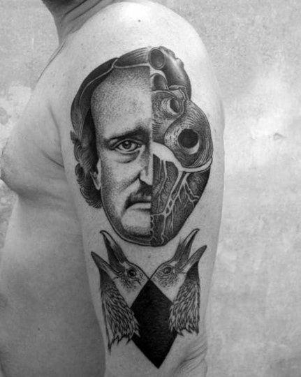 Edgar Allan Poe Mens Tattoos