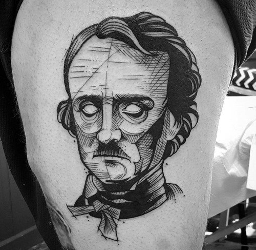 Edgar Allan Poe Themed Tattoo Ideas For Men
