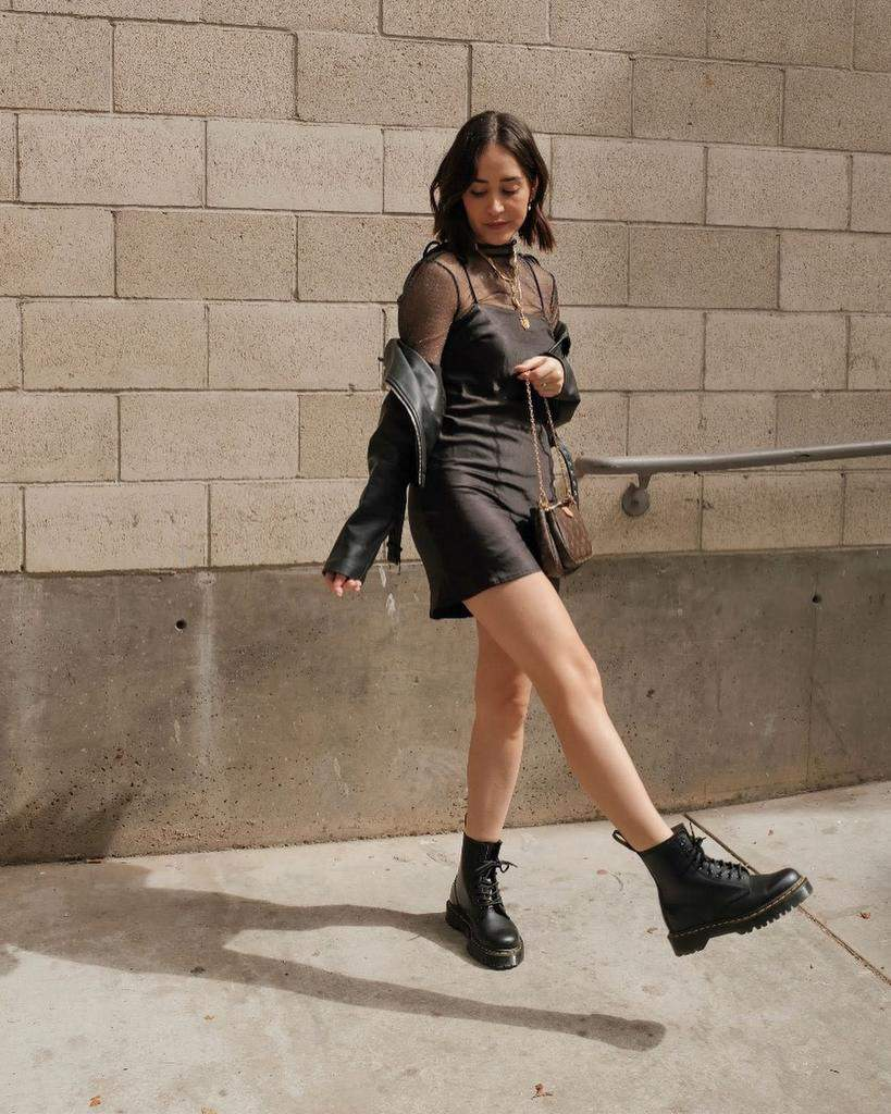 Edgy Dress And Boots Outfit