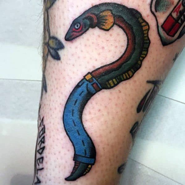 Eel Wearing Jeans Small Forearm Mens Tattoo Ideas