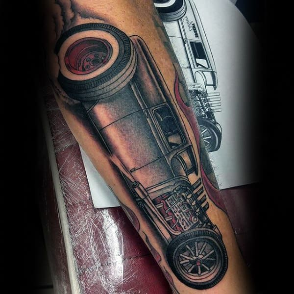 Efficient Car Hot Rod Tattoo Male Forearms