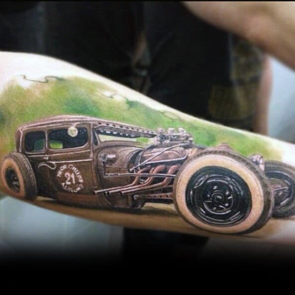 Efficient Hot Rod Tattoo Male Forearms