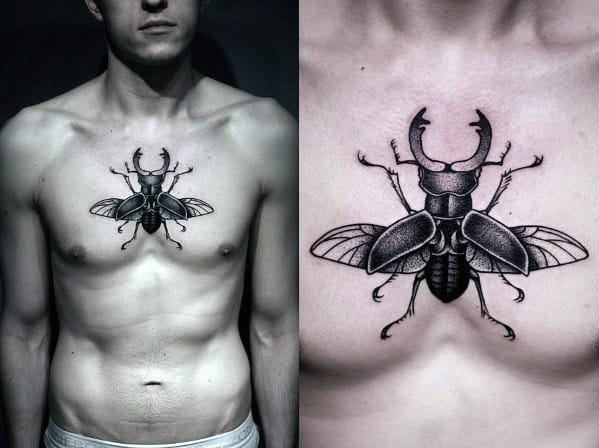 Egyptian Bettle Guys Dotwork Small Chest Tattoos