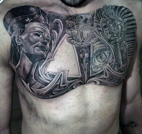 Egyptian Gods Tattoo On Chest For Men
