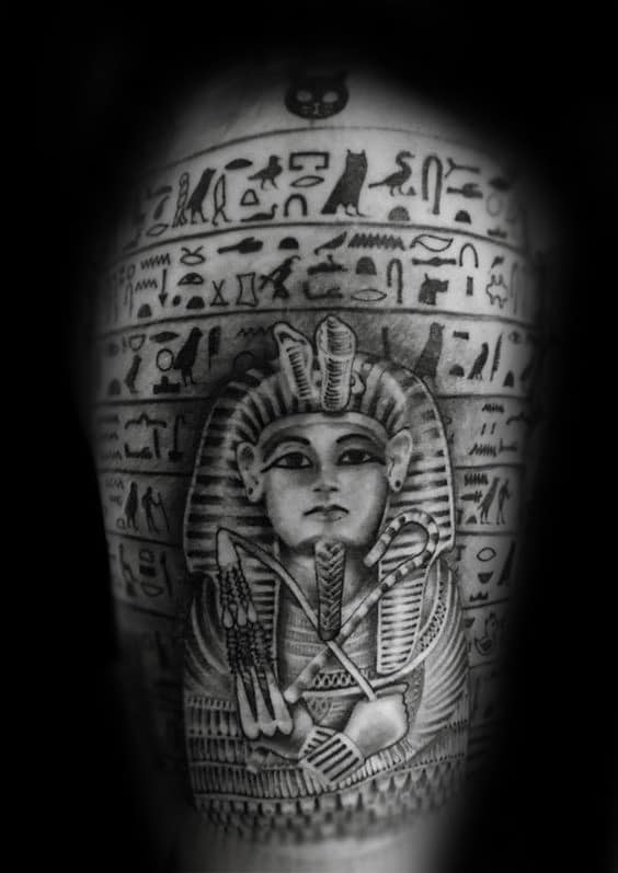 Egyptian Hieroglyphs Mens King Tut Upper Arm Tattoo