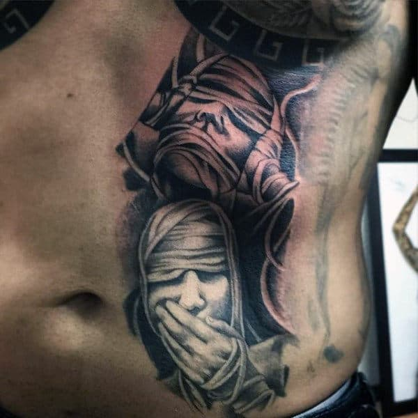 Egyptian Mummy Wrap Stomach Tattoo Designs For Men