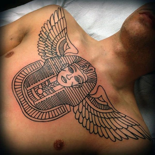 Egyptian Pharoah Mens King Tut With Angel Wings Chest Tattoo