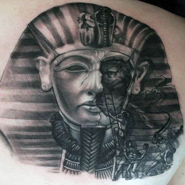 Egyptian Slaves Rebuilding Kit Tut Monument Mens Shoulder Tattoo