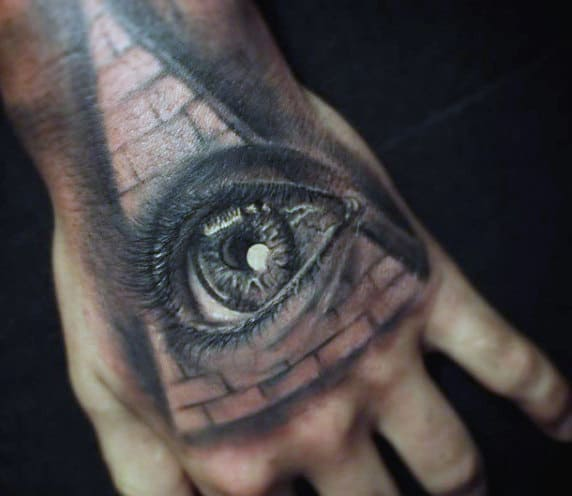 Egyptian Tattoo Eye Pyramid Hand Design For Men