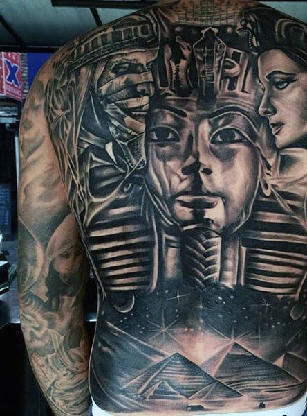 Egyptian Themed Mens Full Back Tattoo Of Pyramids