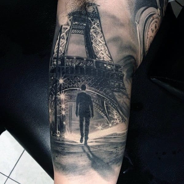 Eiffel Tower Hyper Realistic Guys Arm Tattoos