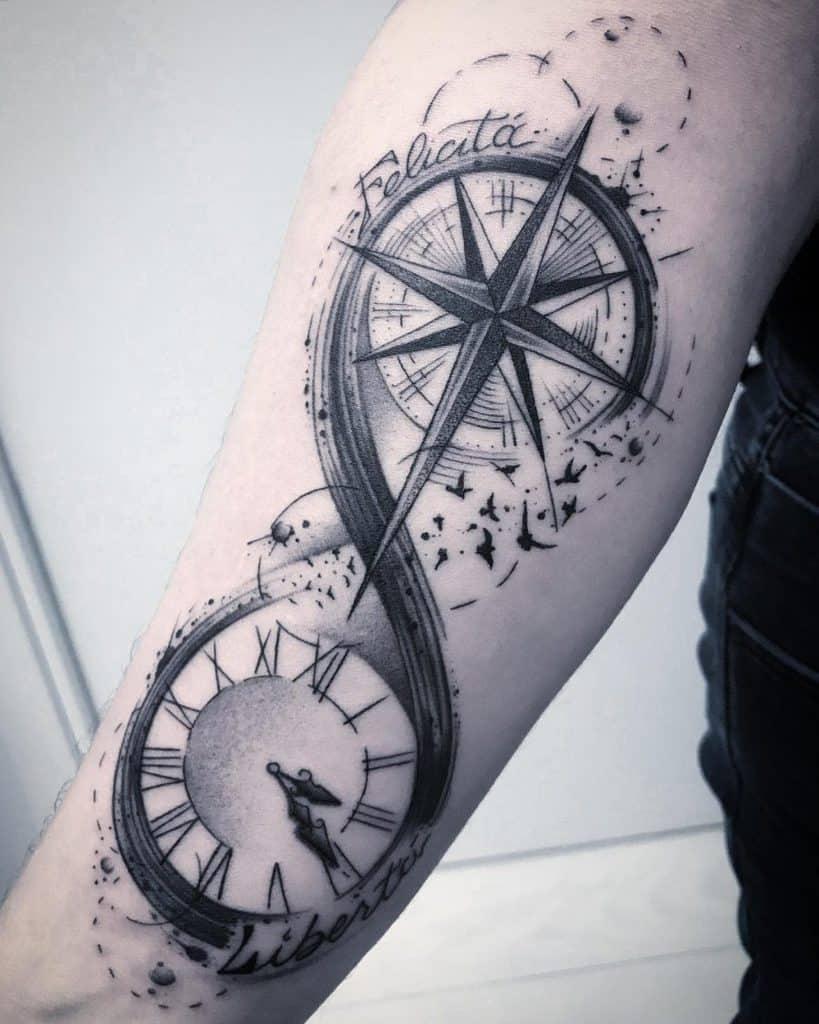Elaborate Forearm Size Compass Clock Blackgray Innovative Infinity Tattoo