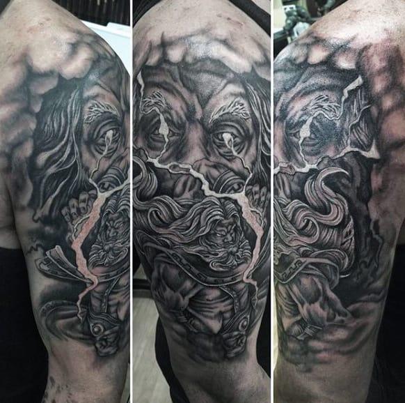 Elaborate Greek God Tattoo On Arms For Men