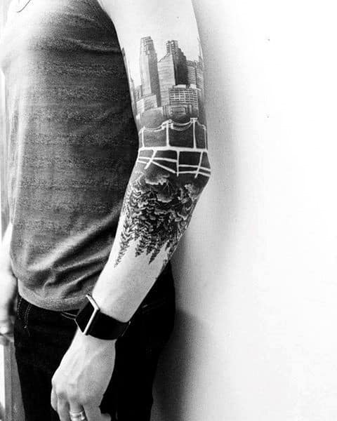 Elbow And Arms Skyline Mens Tattoos