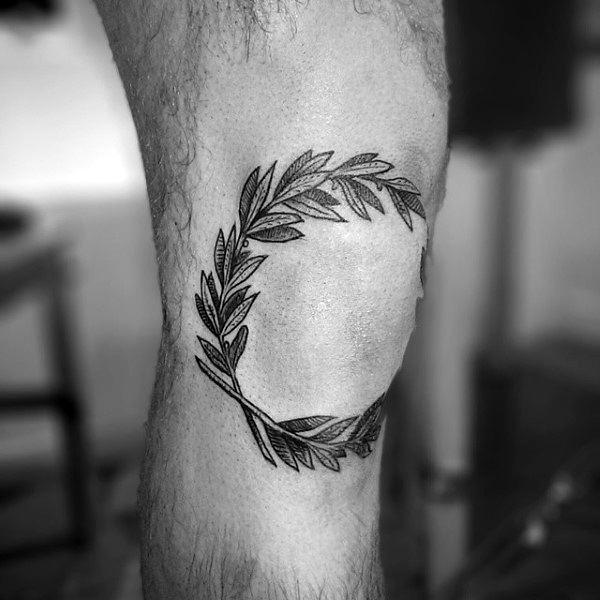 Elbow Circle Leaf Tattoo Ideas For Men