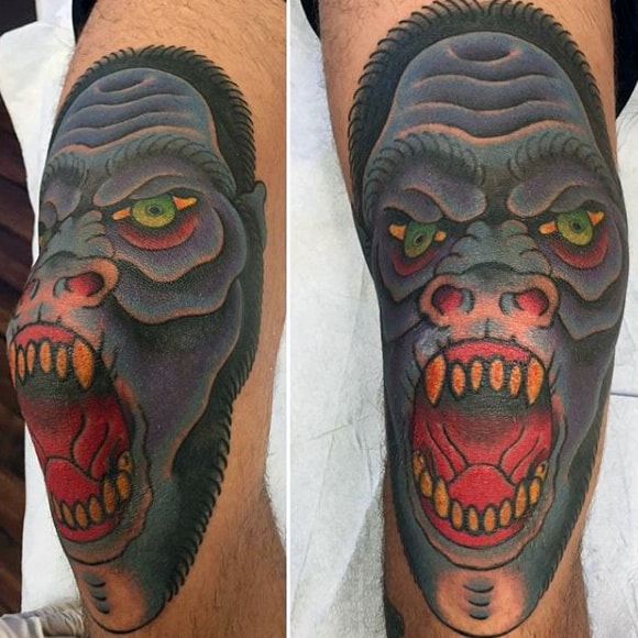 Elbow Gorilla Tattoo For Men In Color Ink