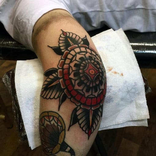 Elbow Male Ornate Traditional Flower Tattoo