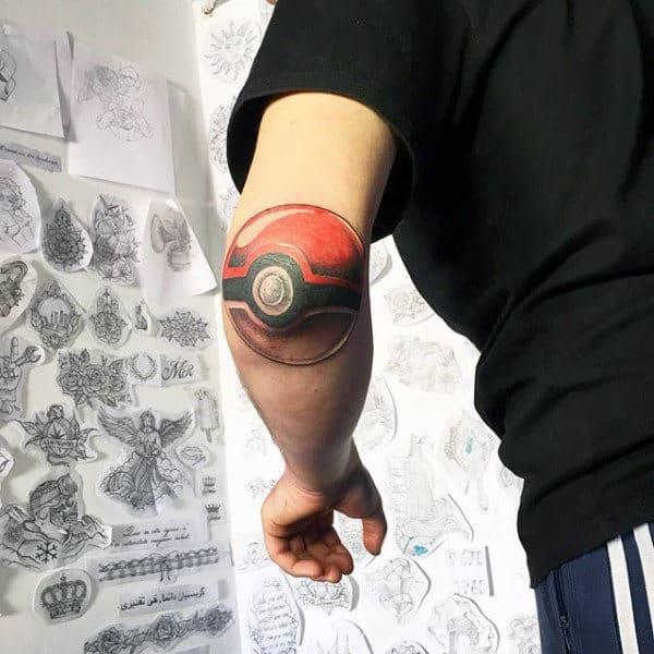 Elbow Mens Pokemon Poke Ball Tattoos
