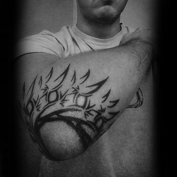Elbow Modern Tribal Sun Tattoo Ideas For Males