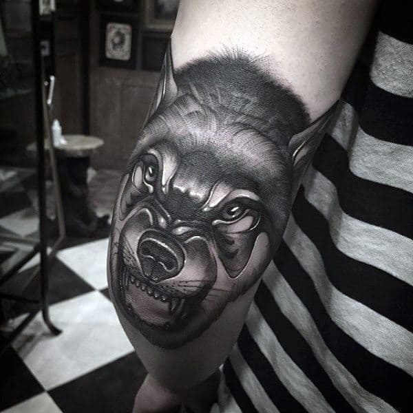 Elbow Wolf Mens Animal Tattoo Designs