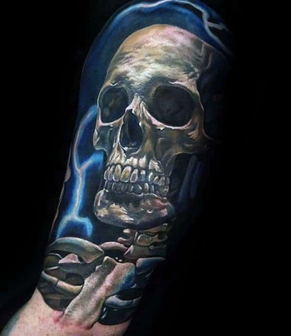 Electric 3d Realistic Unique Skull Half Sleeve Tattoos For Guys