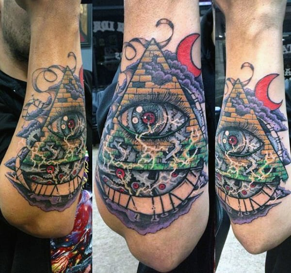 Electric All Seeing Eye Mens Outer Forearm Pyramid Tattoo Designs