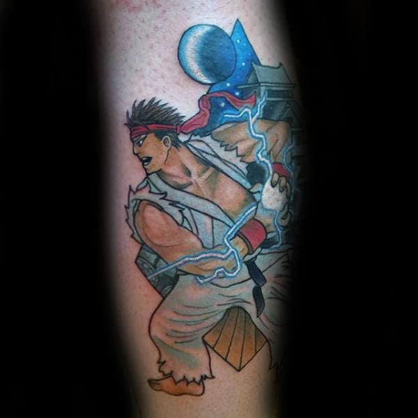 Electric Ball Street Fighter Male Leg Tattoo