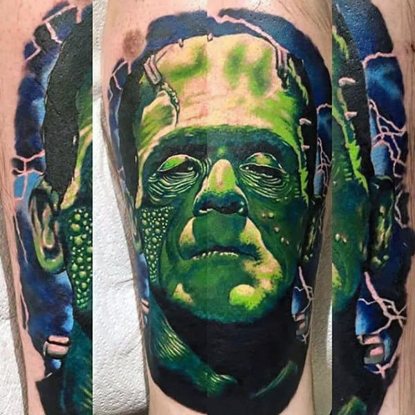 Electric Blue And Green Mens Frankenstein Arm Tattoos