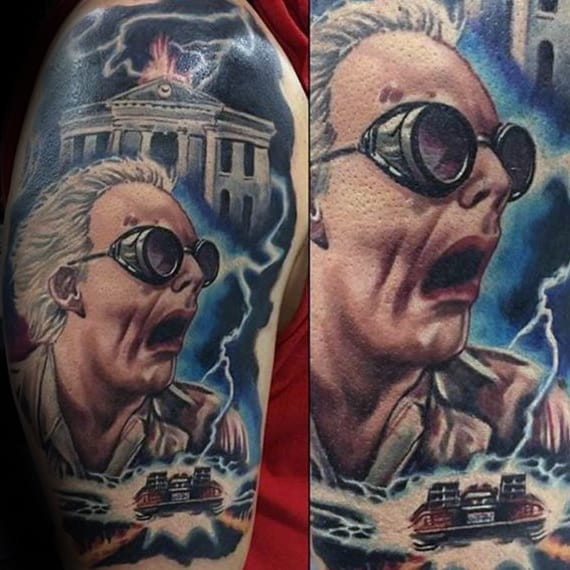 Electric Doc Brown Back To The Future Mens Arm Tattoo