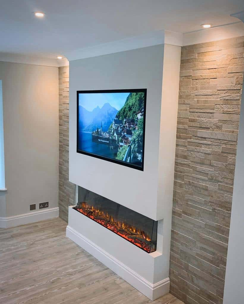 electric fireplace wall ideas rustlewisbuilding