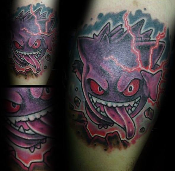Electric Gengar Male Pokemon Tattoo Designs
