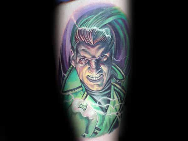 Electric Green Lantern Guys Leg Tattoos